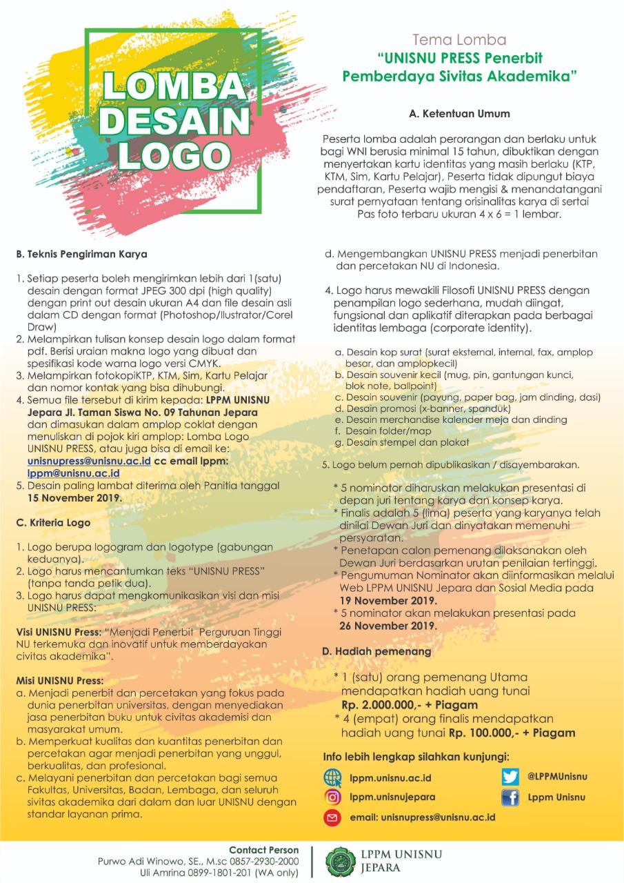 """Perpanjangan Pengiriman Lomba Desain Logo """"UNISNU PRESS ..."""